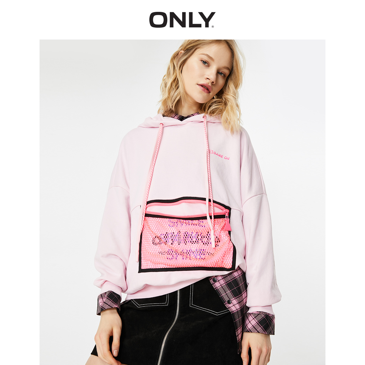 ONLY Women's Loose Fit Letter Print Hoodie | 12019S566