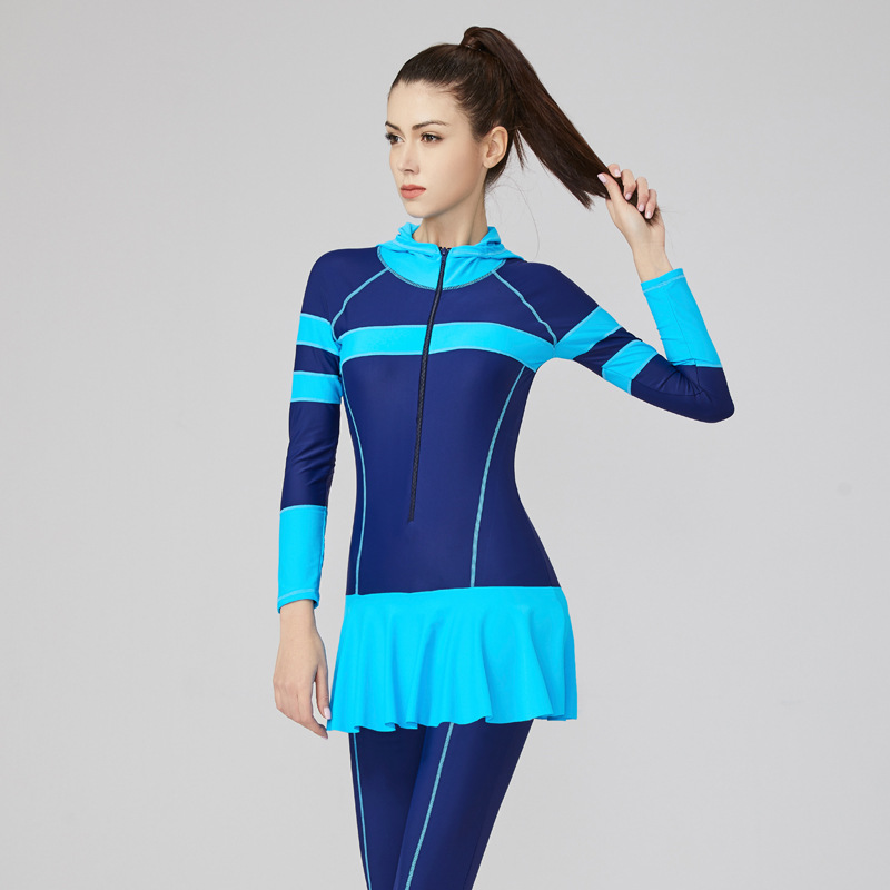 Muslim Women's Swimwear Wetsuit Sunscreen Swimsuit Jumpsuit with Cap Snorkeling Suit