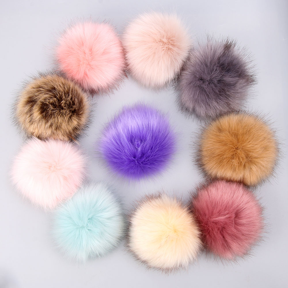 15cm Solid & Colorful Raccoon Fur Ball Fur Pom Poms For Women And Children Winter Hat And Cap Beanies Fur Pompom