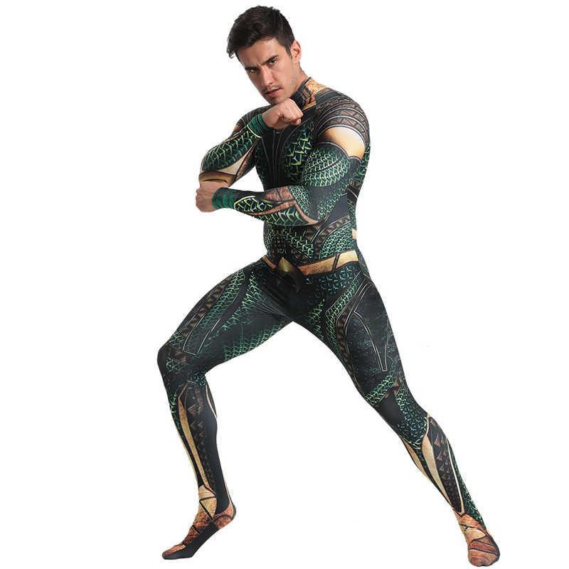 Aquaman Cosplay Costume Men Arthur Curry Cosplay Zentai Bodysuit DC Superhero Halloween Deluxe Costume For Adult Carnival Suit