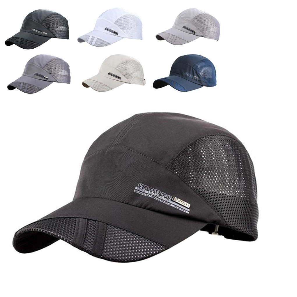 Summer Breathable Mesh Baseball Cap Quick Drying Hats For Men Blue Gray