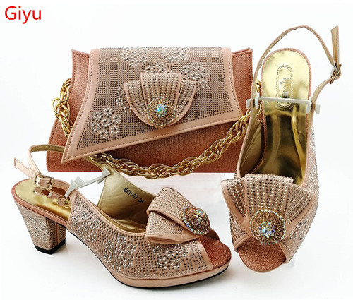 Doershow Italian Peach Shoes With Matching Bags African Women Shoes And Bags Set For Prom Party Summer Sandal!HBZ1-23