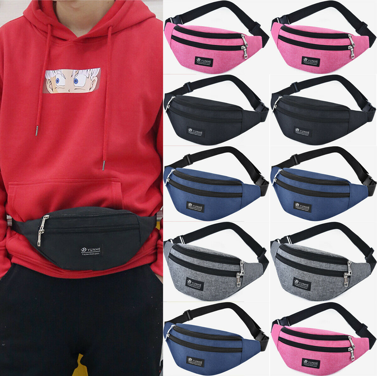 Men Women Sportswear Bum Bag Fanny Pack Travel Waist Money Belt Zip Hiking Pouch Wallet Waist Pack Hip Pack Running Travel Belt