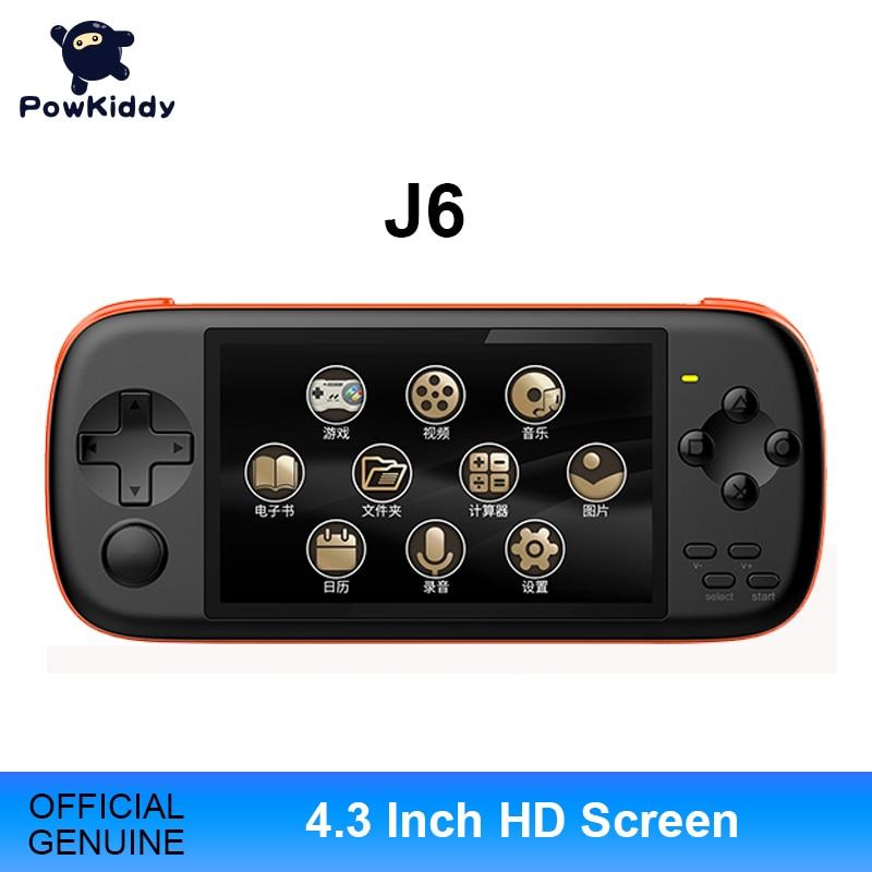 Портативная игровая консоль POWKIDDY J6, 4,3 дюйма, IPS, HD, 2300 мА, 16 ГБ