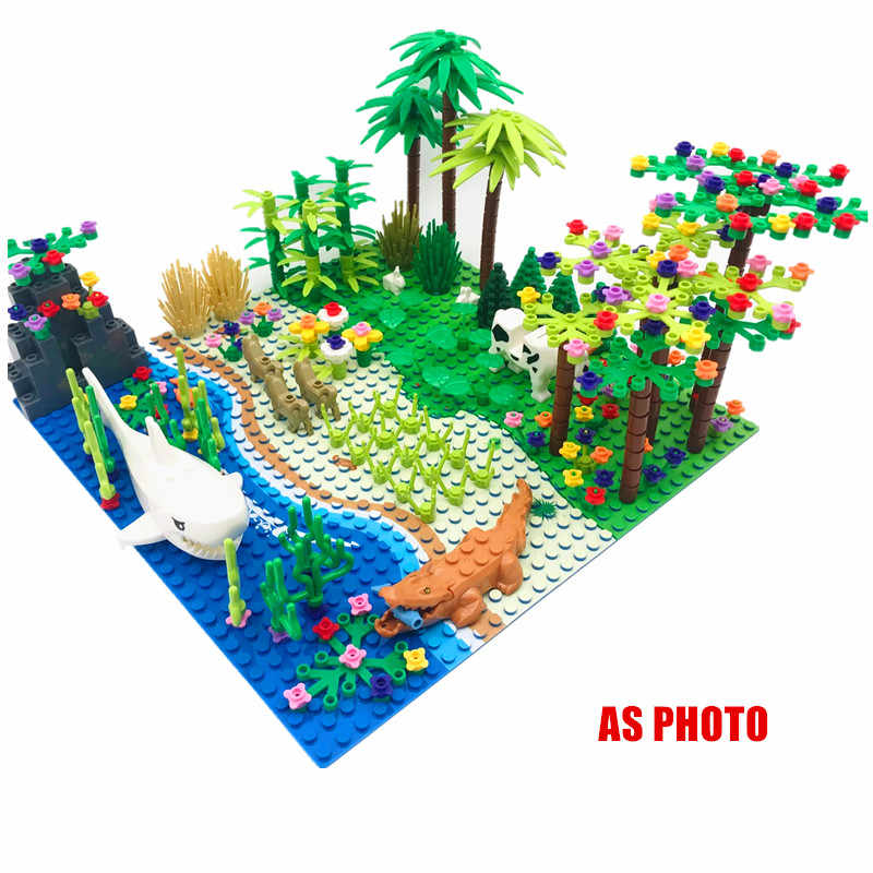 Foreste pluviali Modello di Città Cespuglio di Fiori Erba Albero con Gli Animali Piastra di Base FAI DA TE Parti di MOC Compatibile Amici Blocchi di Costruzione