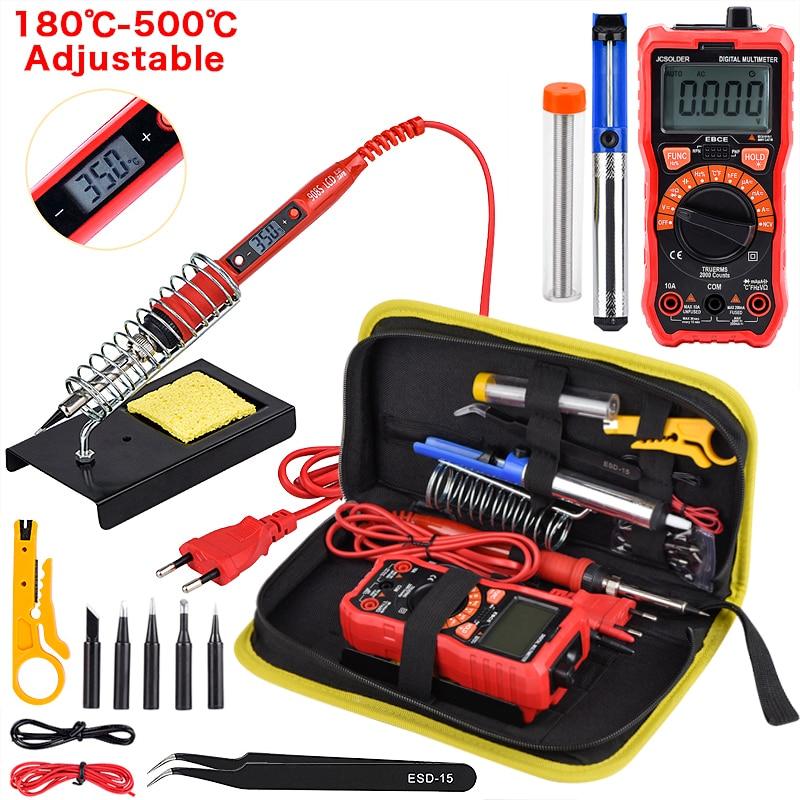 JCD Soldering Iron Kits 80W 220V Adjustable Temperature Digital Multimeter Auto RangingLCD Solder Iron Tips Welding Rework Tools