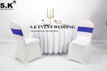 50 sztuk dwustronnie olśniewająca wstążka na krzesło Sash brokat łuk pasuje na pokrowiec na krzesło na wesele bankietowe dekoracje na imprezy okolicznościowe tanie i dobre opinie SHENGXuntex Haftowane Zwykły Domu Hotel Ślub BANQUET 15x35cm sash-WERvmeve poly+sequin