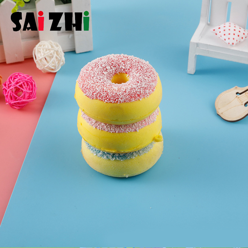 Saizhi Kawaii Cute Mini Soft Silicone Anti-stress Squishy Toys Fidget Hand Squeeze Donut Lovely Cartoon Toy Rubber Squishes