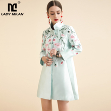 Lady Milan Autumn Women's Runway Trench Coats Stand Collar Long Sleeves Embriide