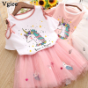 Vgiee Toddler Unicorn Girls Dress 2pc Clothes Set Baby Toddler Outfits Summer T- Shirt Children Kid Dresses For Girl 3 Years Party Dress