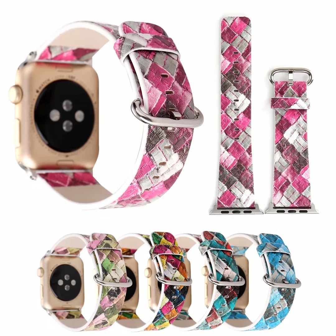 2019 For Apple Watch Leather Watch Strap APPLE Watch Strap IWatch Colored Plaid Leather Watch Strap