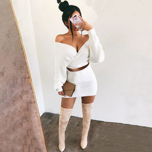 Image 3 - Thereadict White Knitted Suit Two Piece Set Crop Top And Skirt Autumn Winter Sweater 2 Piece Set Women V Neck Female Outfits