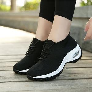 Image 3 - MWY Flying Woven Wedges Casual Shoes Women High Heel Sneakers Women Platform Shoes Zapatilla De Mujer Outdoor Walking Shoes