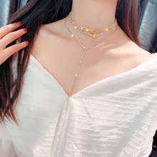 FYUAN Long Full Rhinestone Choker Necklaces for Women Bijoux Gold Silver Color Button Crystal Necklace Statement Jewelry Gifts drejew gold silver full rhinestone pearl choker long exquisite crystal chain necklaces sets for women statement jewelry hn992