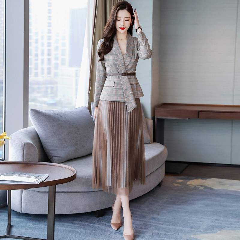 2019 Autumn New Casual Women's Skirt Suits Temperament Slim Plaid Jacket Blazer Female Half-length Pleated Skirt Two-piece Suit