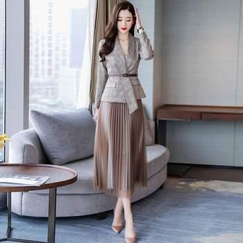 2019 autumn new casual womens skirt suits Temperament Slim Plaid Jacket Blazer Female half-length pleated two-piece suit