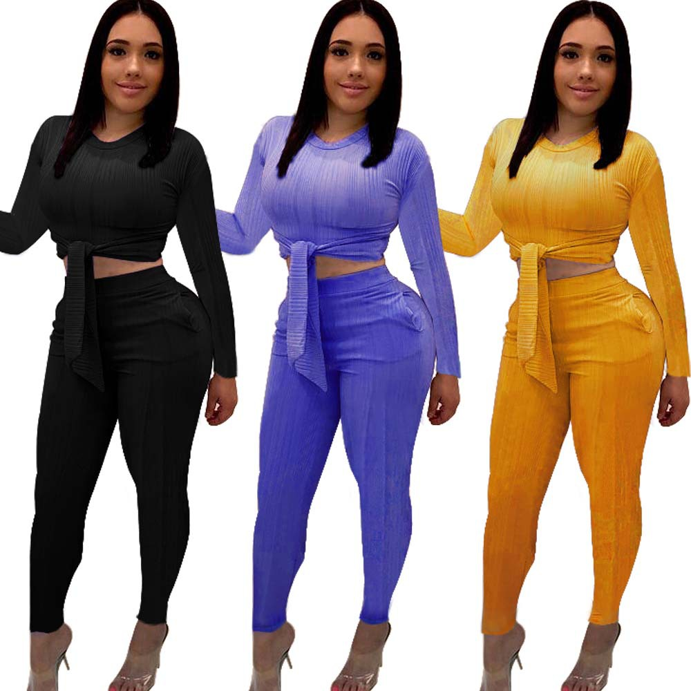 HAOYUAN Plus Size Two Piece Set Tracksuit Women Fall Festival Clothing Bandage Crop Top And Pant Sweat Suit Sexy 2 Piece Outfits