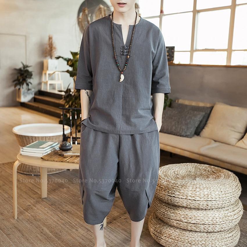 Chinese Style Men Hanfu T Shirt Trousers Tang Suit Traditional Kung Fu Uniform Japanese Blouse Tops Wide Leg Jogger Harem Pants
