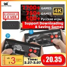 Data Frog – Mini Console de jeu vidéo portable sans fil, avec 1700 jeux classiques intégrés, 4K, 8 bits, prise en charge de la sortie HD, USB