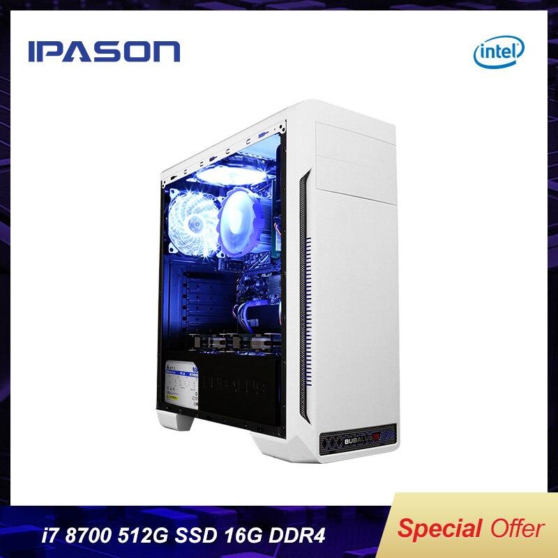 IPASON Office Desktop Computer Intel I7 8700 HDG 630 For Design PC 512G SSD DDR4 16G RAM Efficient Office Equipment