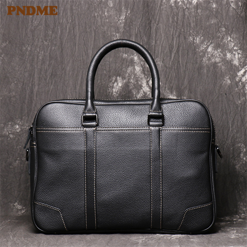 PNDME Business Casual Genuine Leather Men's Briefcase High Quality Cowhide Office Black Hand Large 15 Inch Laptop Messenger Bags