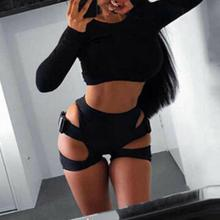 High Waist Hollow Out Buckle Stretch Leopard Black Shorts SF
