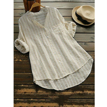 Women New Summer Striped V-Neck Blouses Loose Baggy Shirts and blouses Cotton and Linen Button Padding Tunic Blouses Plus Size 4