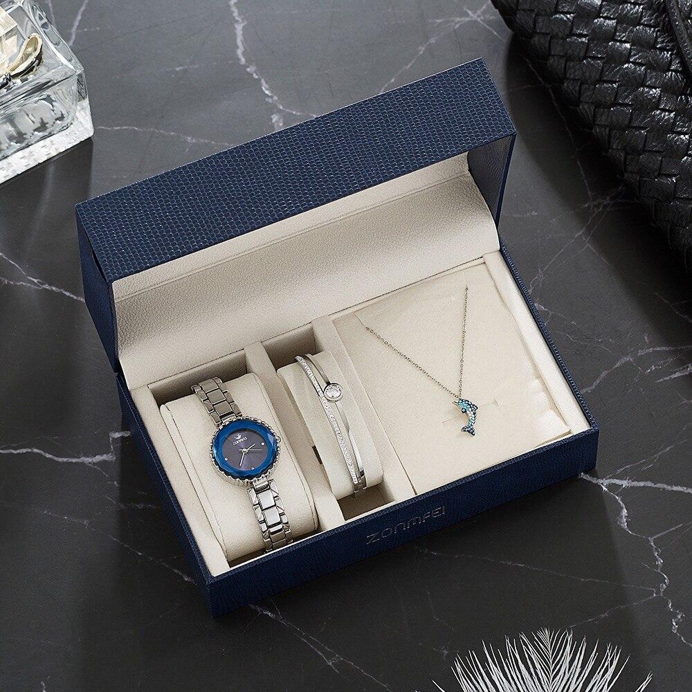 Ensemble de montre diamant Bracelet mignon dauphin collier cadeaux de dame 1