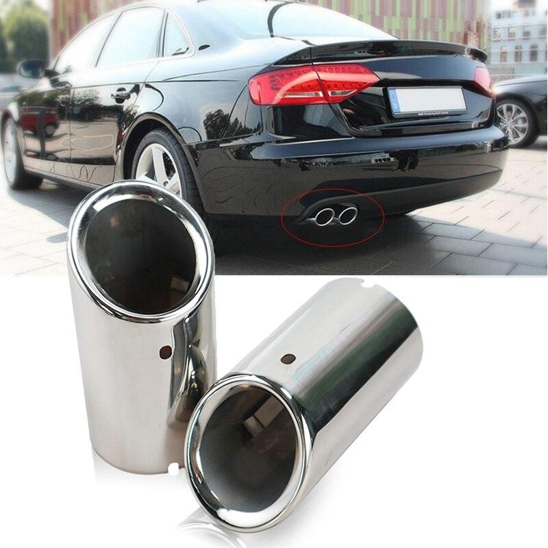 Автомобильные хромированные выхлопные наконечники из нержавеющей стали, наконечник трубки, задний глушитель для Audi A4 B8 A4L Q5 2007-2014, автомобил...