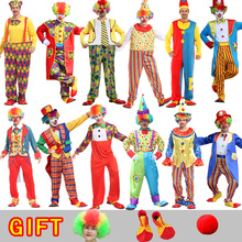 Halloween costume men Variety Funny Clown Costumes with mask wig shoes Gloves Christmas Woman Joker Party Dress Up Clown Suits halloween costumes clown dressed up acting cute nose red