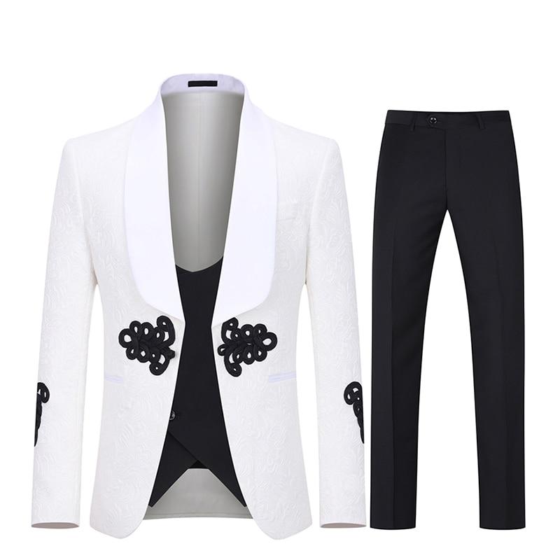 Collar Jacquard Men's Suit Wedding High Society Banquet Men's Suit One Button Men's Suit Three Pieces (Jacket+Pants+Tie+Vest)