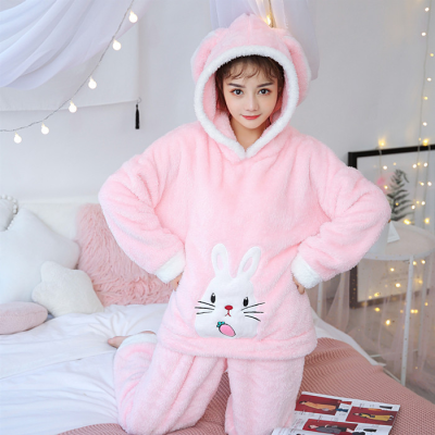 Christmas Pajamas Women WAVMIT Winter Wool Warm Velvet Thickening Flannel Sleepwear Set Cute Hooded Pajamas Loungewear Women 4