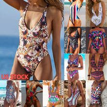 Fashion Women Floral Print Color Bikini Push-Up Padded Bra Summer Beach Dress One Piece Swimsuit Lot Swimwear Monokini S-XL(China)