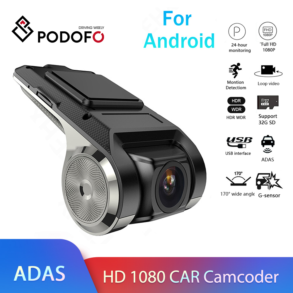 Podofo Dash Cam ADAS Car DVR ADAS Dashcam DVRs Video Night Version HD 1080P Auto Recorder for Android Multimedia player DVD DVR/Dash Camera    - AliExpress