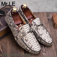 Snakeskin Shoes Men Casual Genuine Leather High Quality Sneaker Sport Fashion Luxury Leisure Snake Leather Men's Leisure Shoes