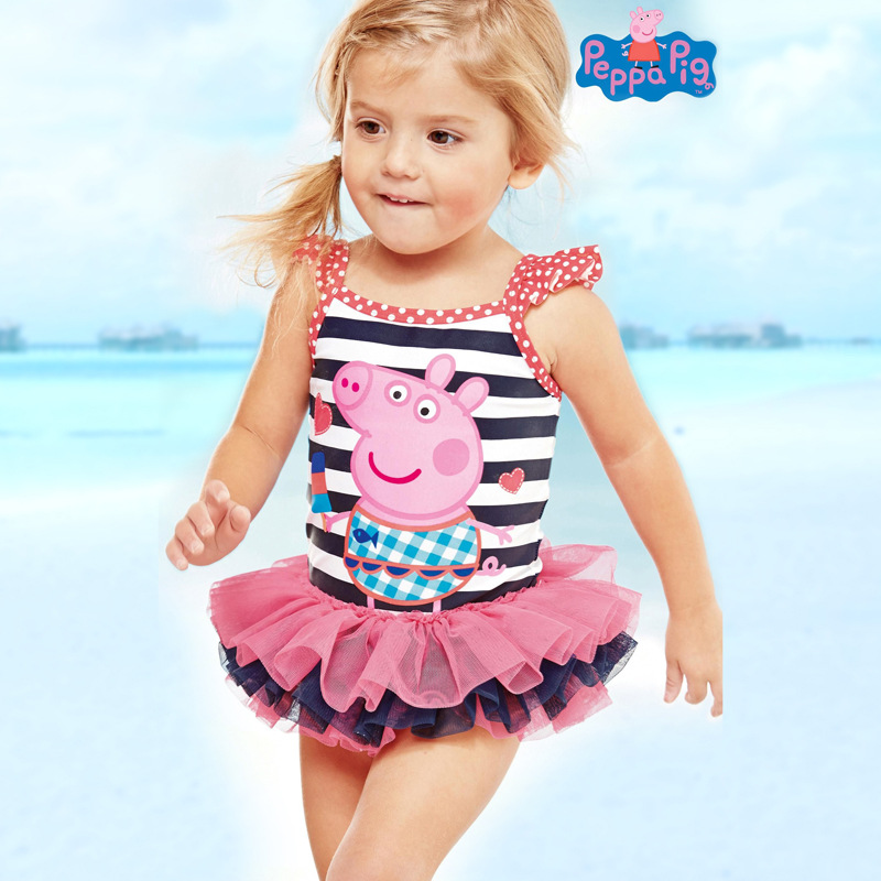 Peppa Pig Girl Spring Swimsuit One-Piece Swimwear Swimming Cap Girl Birthday Party Supplies Beach Gift Anime Figure Toy For Kids