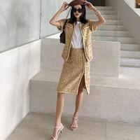 2019 Runway Brand New Women Twist Tweed Coats Short Sleeve Buttons Lurex Elegant Short Jackets + Mini Skirt 2 Pieces Set Y305