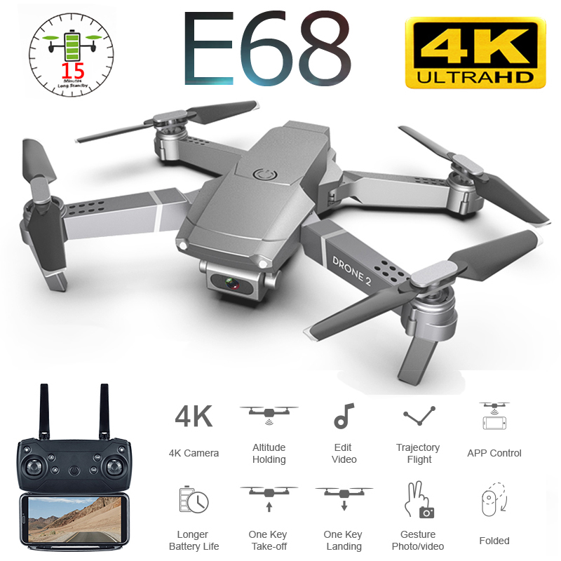 E68 Foldable Profissional Drone with Camera 4K HD Selfie WiFi FPV Wide Angle Optical Flow RC Quadcopter Helicopter Kid Toy E520S