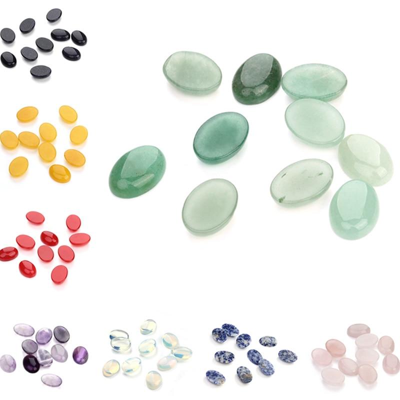 10pcs/lot Natural Bulk Stone Beads 10x14 13x18 18x25mm Flat Back Oval Onyx Cabochons Stone Bead For DIY Jewelry Making Wholesale