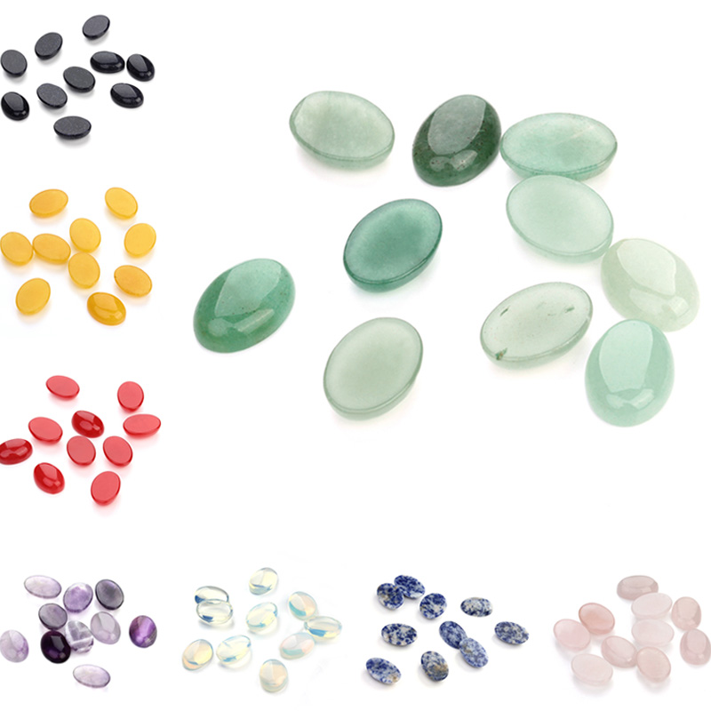 10pcs/lot Natural Bulk Stone Beads 10x14 13x18 <font><b>18x25mm</b></font> Flat Back <font><b>Oval</b></font> Onyx <font><b>Cabochons</b></font> Stone Bead for DIY Jewelry Making Wholesale image