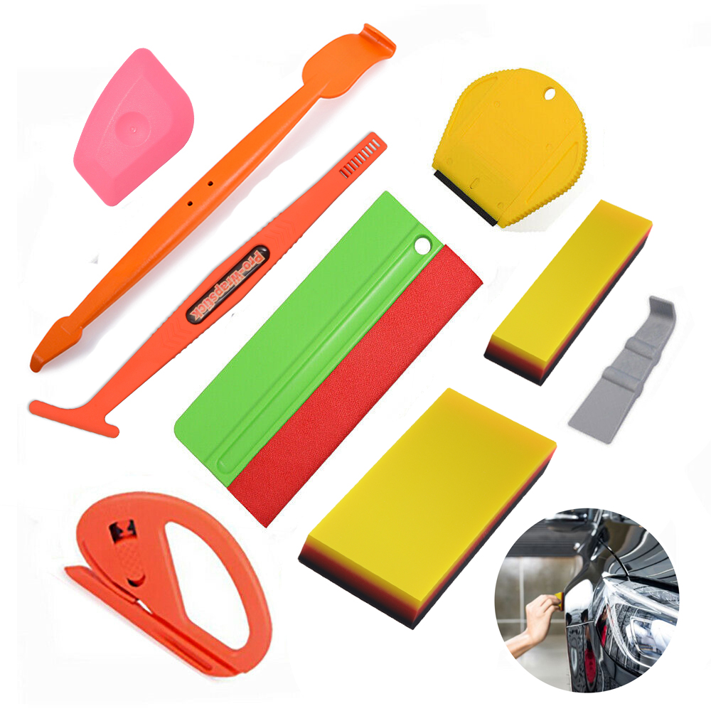 EHDIS Magnet Wrapping Squeegee Soft PP Plastic Edged Felt Scraper Kit Vinyl Film Double-ended Sticker Pasting Car Cleaning Tools