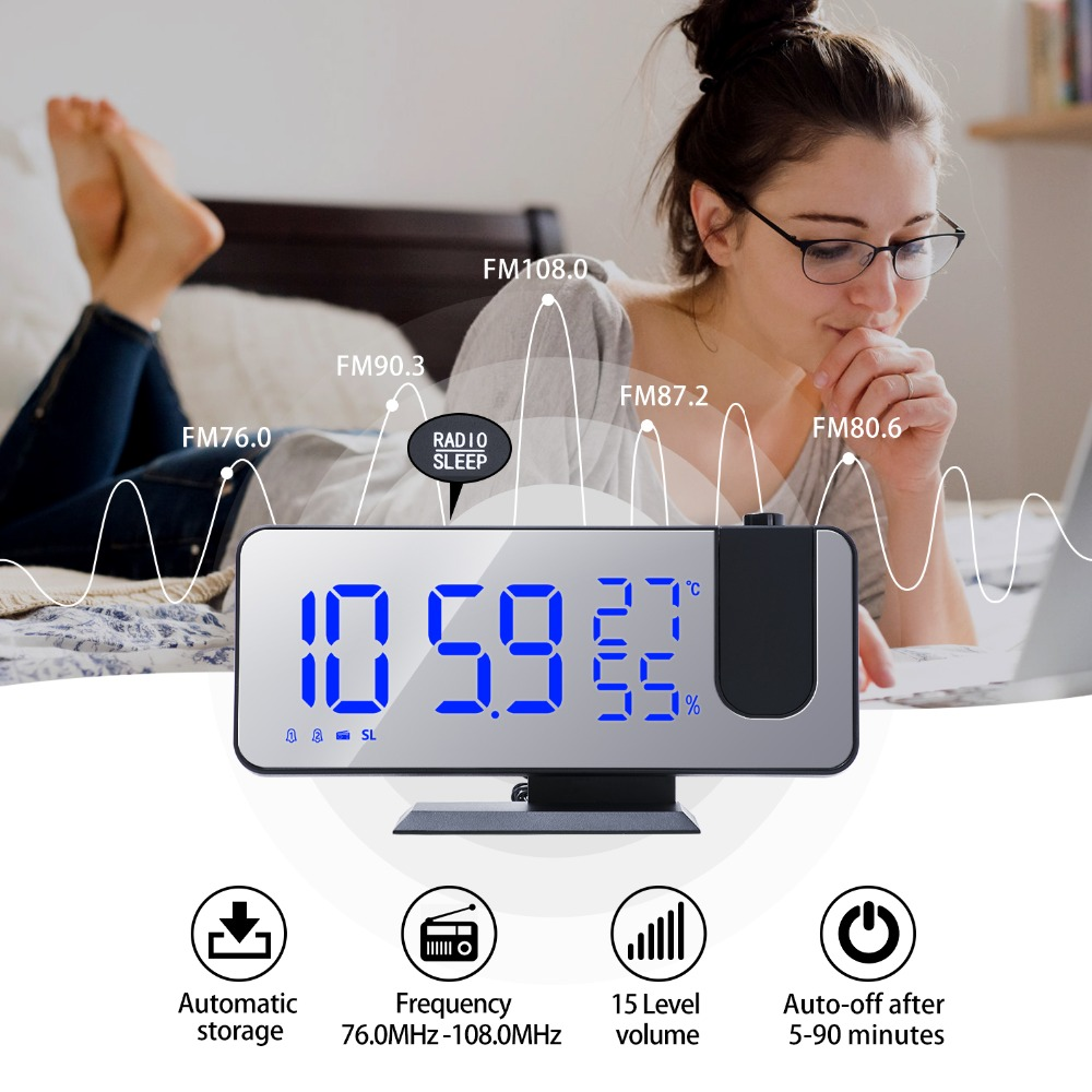 Multifunctional Digital Alarm Clock with Wall Projection