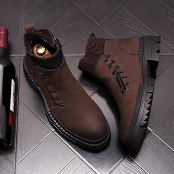 Zapatos de plataforma de cuero natural para hombre, botas de cowboy a...