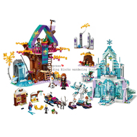 Free shipping Girl Friends legoinglys Friends 41148 Dream Princess Elsa Ice Castle Princess Anna Building Blocks Toys Gift