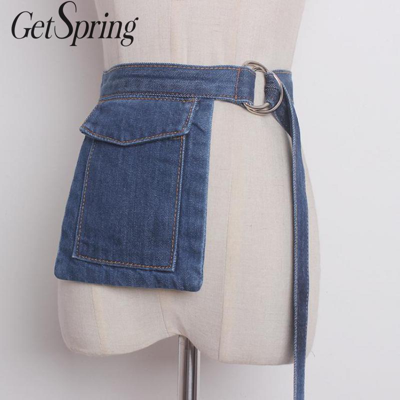 GetSpring Women Wide Belt Wide Denim Corset Belt Fashion Denim Waistband All Match Wide Fabric Belt All Match Denim Cummerbunds