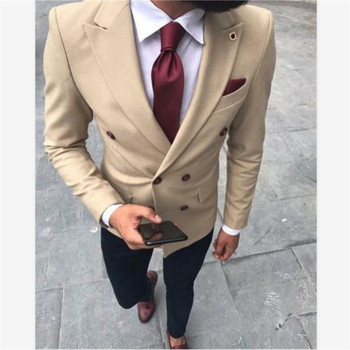 New Men's Suit Smolking Noivo Terno Slim Fit Easculino Evening Suits For Men Khaki Double Breasted  Men Suit Groom Tuxedo