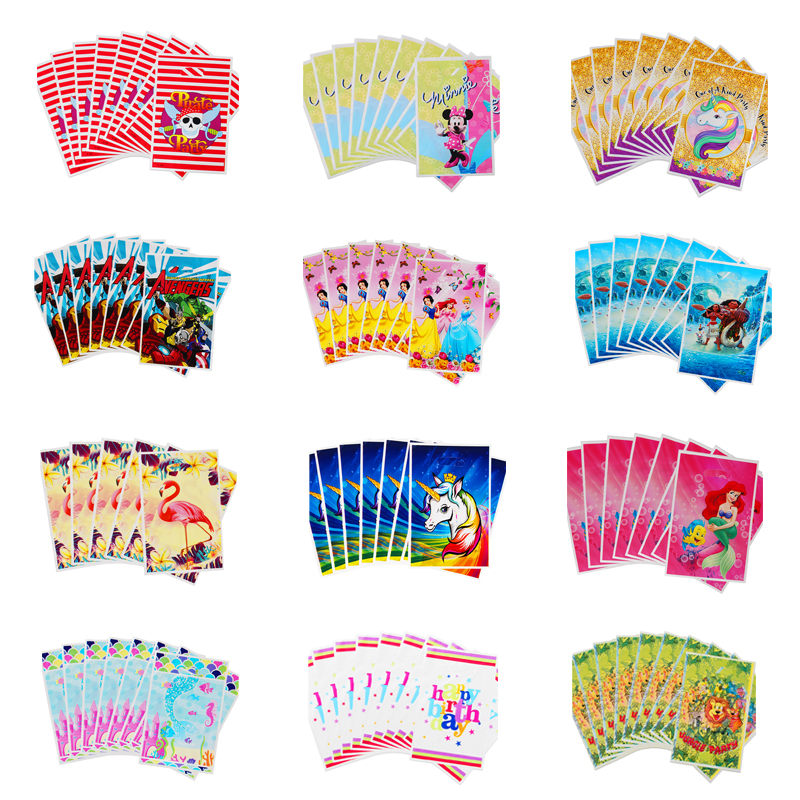 10pcs/lot Cartoon Unicorn/Mermaid/Princess/Spiderman/Avenger/Moana Gift Bag Loot Bag Wedding Birthday Party Decor Candy Bag