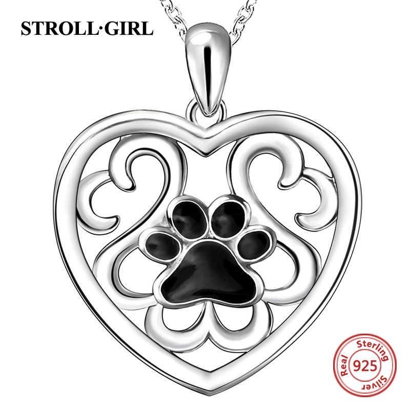 Strollgirl 925 Sterling silver dog paw print łańcuszek z wisiorem serce ślady czarna emalia naszyjnik dla kobiet 2020 biżuteria prezent