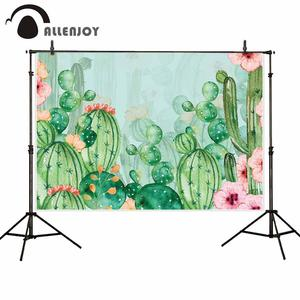 Image 1 - Allenjoy kaktus tło kwiaty akwarele kwiatowy dziewczyna Baby Shower meksyk Party urodziny tło fotografia Banner