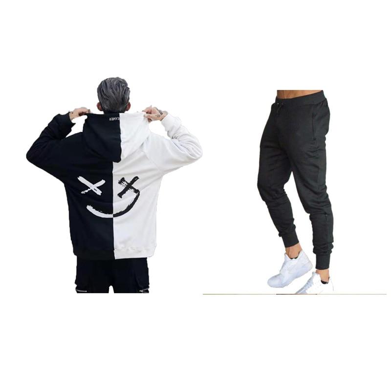 Fashion Brand Set Sportswear 2019 Autumn Hooded Sweatshirts Sporting Suits Male Tracksuit Pattern Printed Hoodies+Pants 2PCS